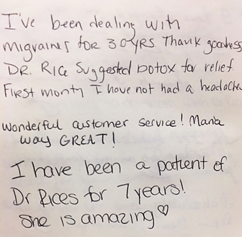 Patient testimonial about the effectiveness of our Botox® treameat for migraine relief.
